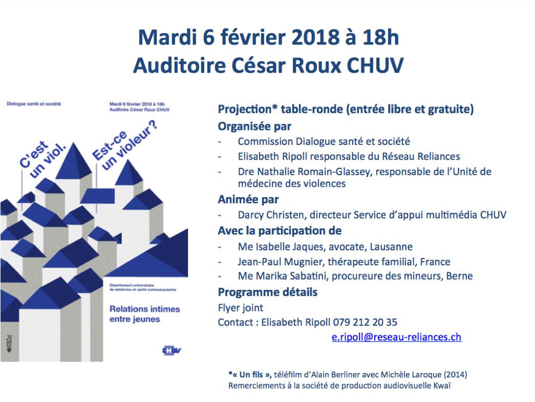 annonce table-ronde CHUV fév. 2018